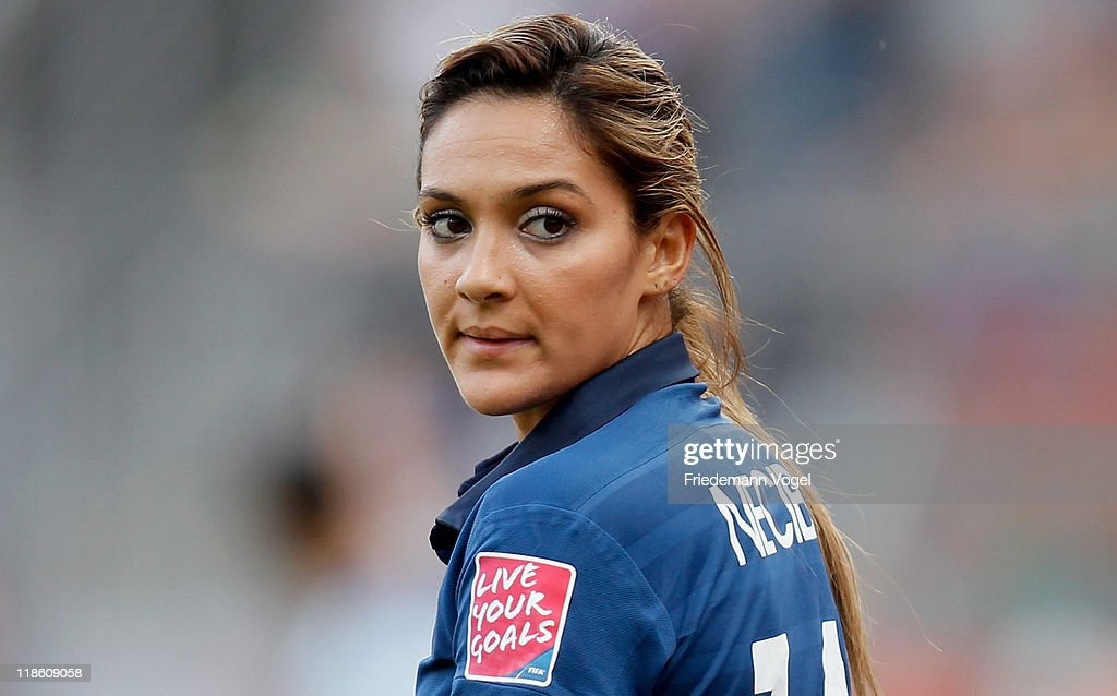 <a gi-track='captionPersonalityLinkClicked' href=/galleries/search?phrase=Louisa+Necib&family=editorial&specificpeople=2333059 ng-click='$event.stopPropagation()'>Louisa Necib</a> of France looks on during the FIFA Women's World Cup 2011 Quarter Final match between England and France at the FIFA Women's World Cup Stadium Leverkusen on July 9, 2011 in Leverkusen, Germany.