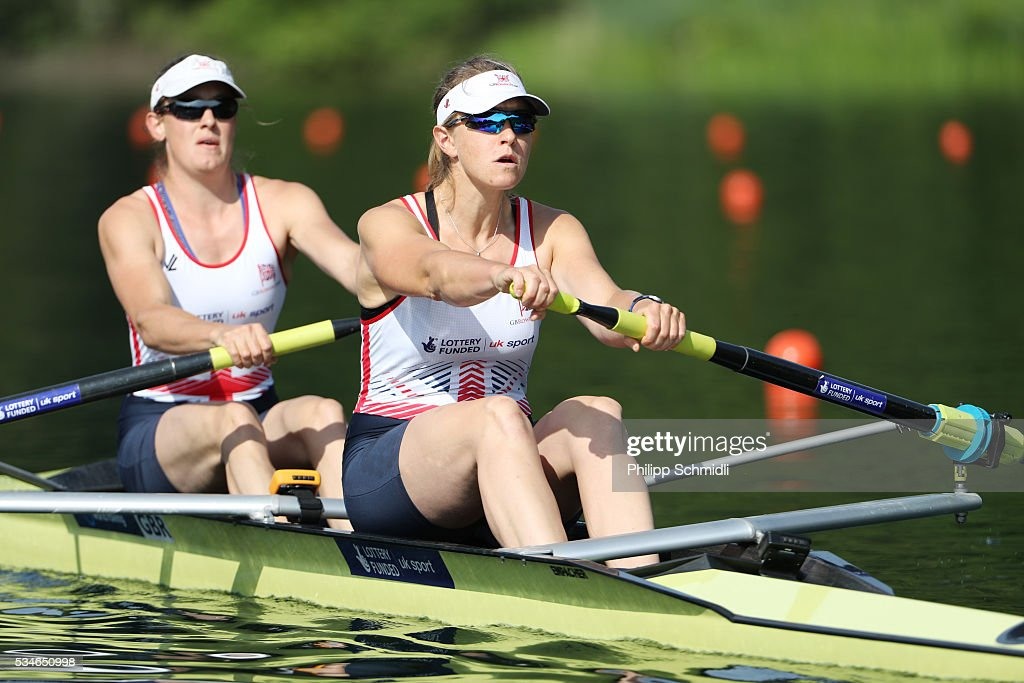 Louisa Reeve (L) and Vicki Meyer Laker of Great Britain compete in the Women's Pair heats during day 1 of the 2016 World Rowing Cup II at Rotsee on May 27, 2016 in Lucerne, Switzerland.