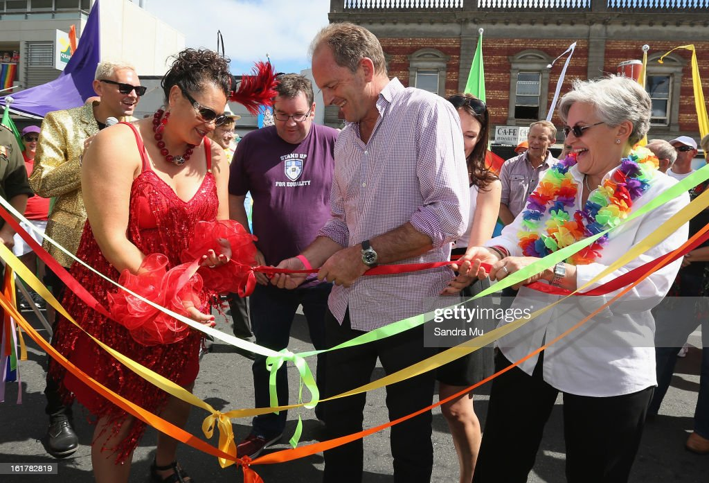 Louisa Wall, labour MP (L), David Shearer, Labour Leader and Maryan Street, Labour MP officially open the Pride parade on February 16, 2013 in Auckland, New Zealand. The gay parade, celebrating lesbian, gay, bisexual and transgender (LGBT) culture has returned to Ponsonby Road after 10 years and organisers plan to put the parade on the tourism map, in the style of the Sydney Mardi Gras.