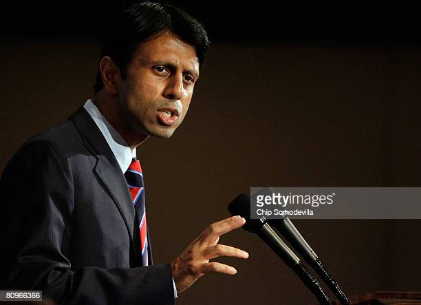 Louisana Governor Bobby Jindal addresses the National Press Club May 2 2008 in Washington DC Political observers have been speculating about Jindal...