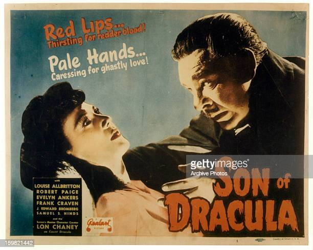 Louise Allbritton and Lon Chaney Jr in movie art for the film 'Son Of Dracula' 1943