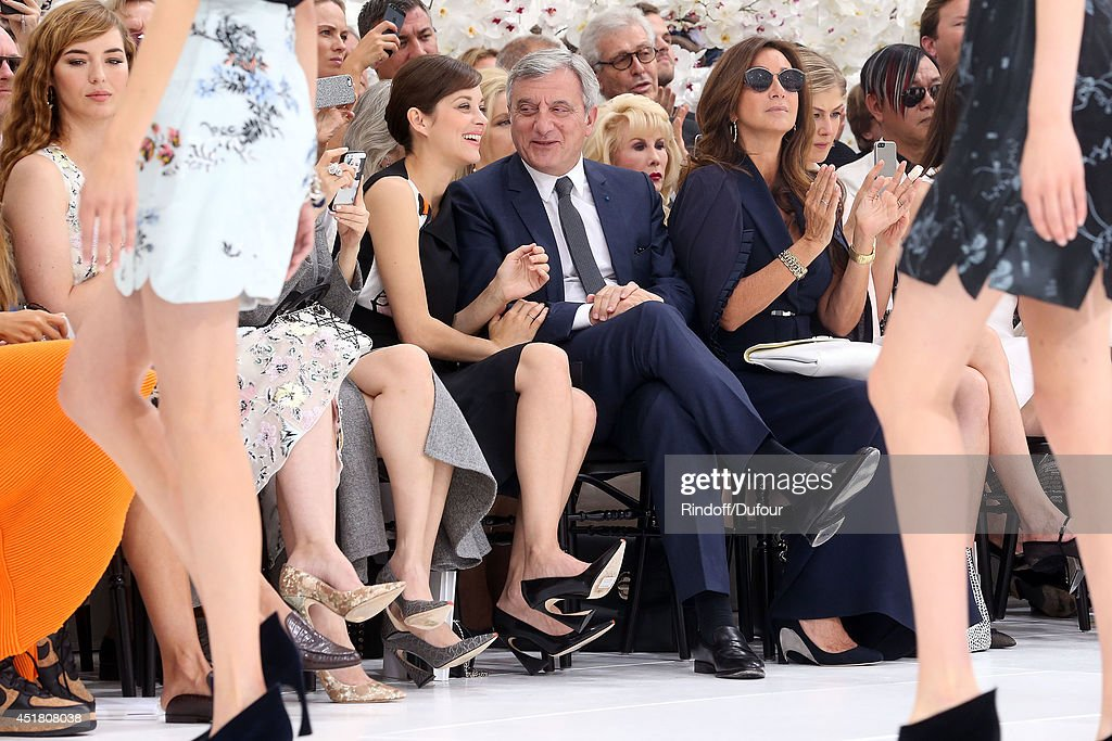 Louise Bourgoin, Marion Cotillard, Sidney Toledano and Katya Toledano attend the Christian Dior show as part of Paris Fashion Week - Haute Couture Fall/Winter 2014-2015 at Muse Rodin on July 7, 2014 in Paris, France.
