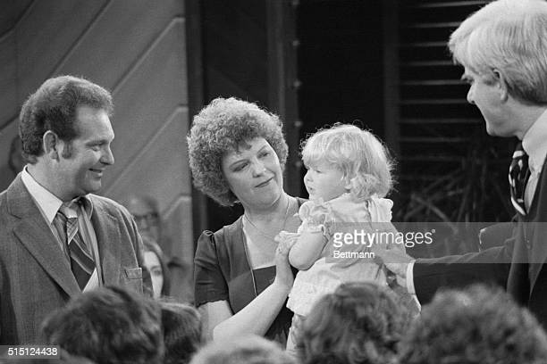 Louise Brown the world's first invitrofertilized 'test tube baby' appears a year after her birth on The Phil Donahue Show in 1979 The host is on the...