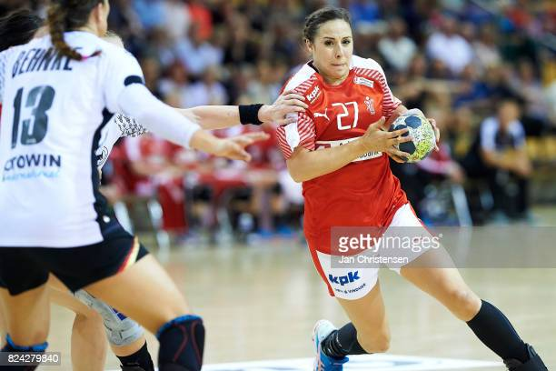 Louise Burgaard of Denmark challenge for the ball during the international friendly match between Denmark and Germany at Ceres Arena on June 08 2017...