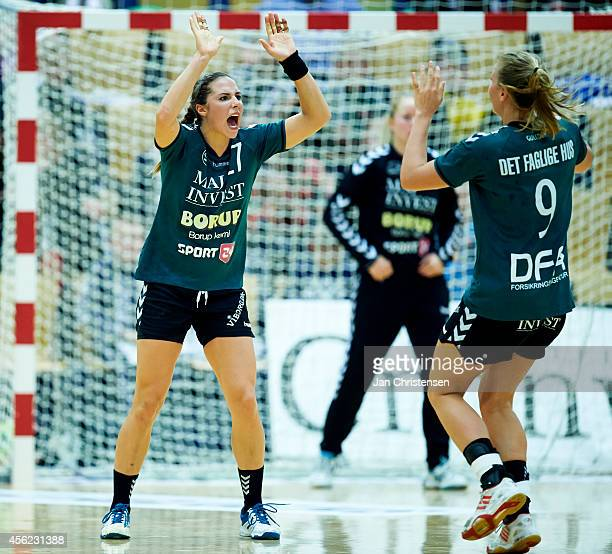 Louise Burgaard of Viborg HK and Isabelle Gulldén of Viborg HK celebrate after goal during the Danish Handball Liga match between Viborg HK and FC...