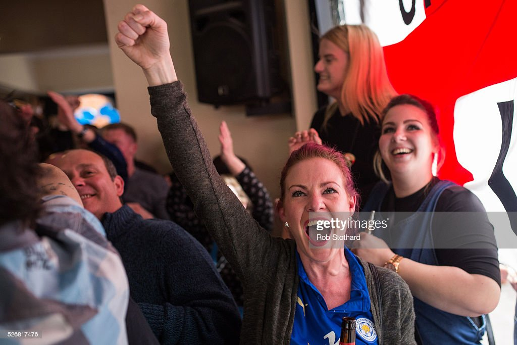 Louise Canham celebrates Leicester City scoring against Manchester United in The Market Tavern May 1, 2016 in Leicester, England. Leicester City can win the Premier League title today if they beat Manchester United away at Old Trafford in what would be one of the league's most surprising and memoriable moments.