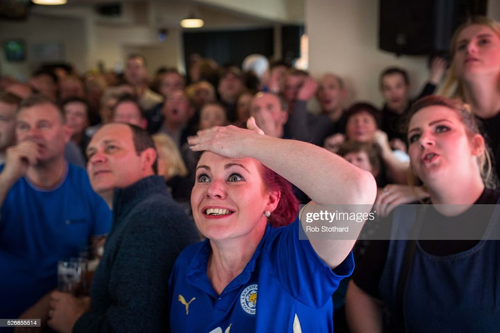 Louise Canham watches Leicester City play against Manchester United in The Market Tavern on May 1st, 2016 in Leicester, England. Leicester City can win the Premier League title today if they beat Manchester United away at Old Trafford in what would be one of the league's most surprising and memoriable moments.