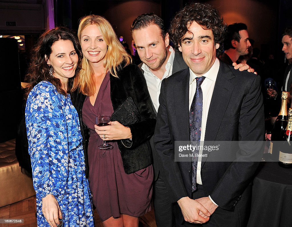 Louise Delamere, Elize du Toit, Rafe Spall and <a gi-track='captionPersonalityLinkClicked' href=/galleries/search?phrase=Stephen+Mangan&family=editorial&specificpeople=227894 ng-click='$event.stopPropagation()'>Stephen Mangan</a> attend the London Evening Standard British Film Awards supported by Moet & Chandon and Chopard at the London Film Museum on February 4, 2013 in London, England.