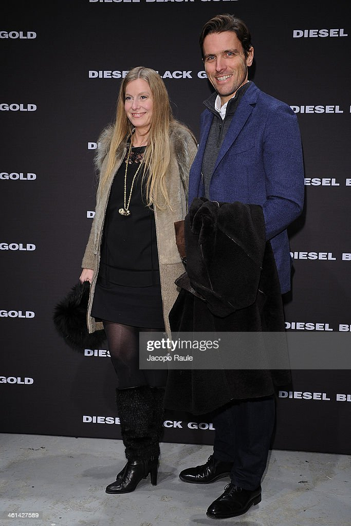 Louise Ferragamo and James Ferragamo attend Diesel Black Gold fashion show during Pitti Immagine Uomo 85 on January 8, 2014 in Florence, Italy.