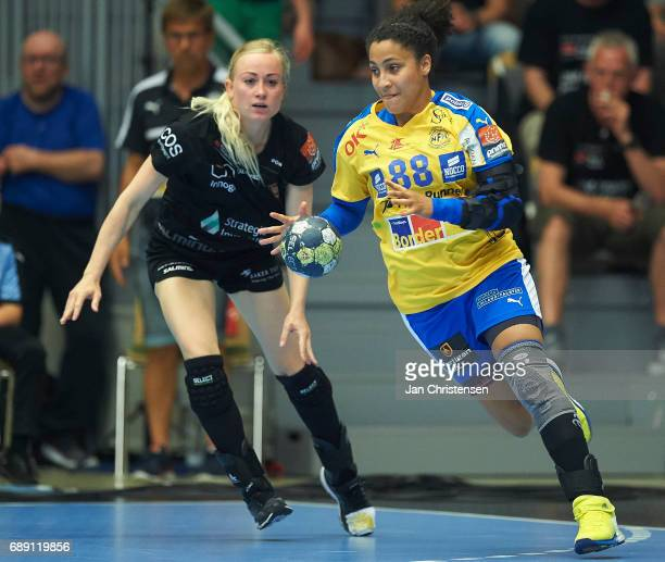 Louise Fons of Copenhagen Handball and Mariana Costa of Nykobing Falster Handbold challenge for the ball during the Primo Tours Ligaen 3 Final match...