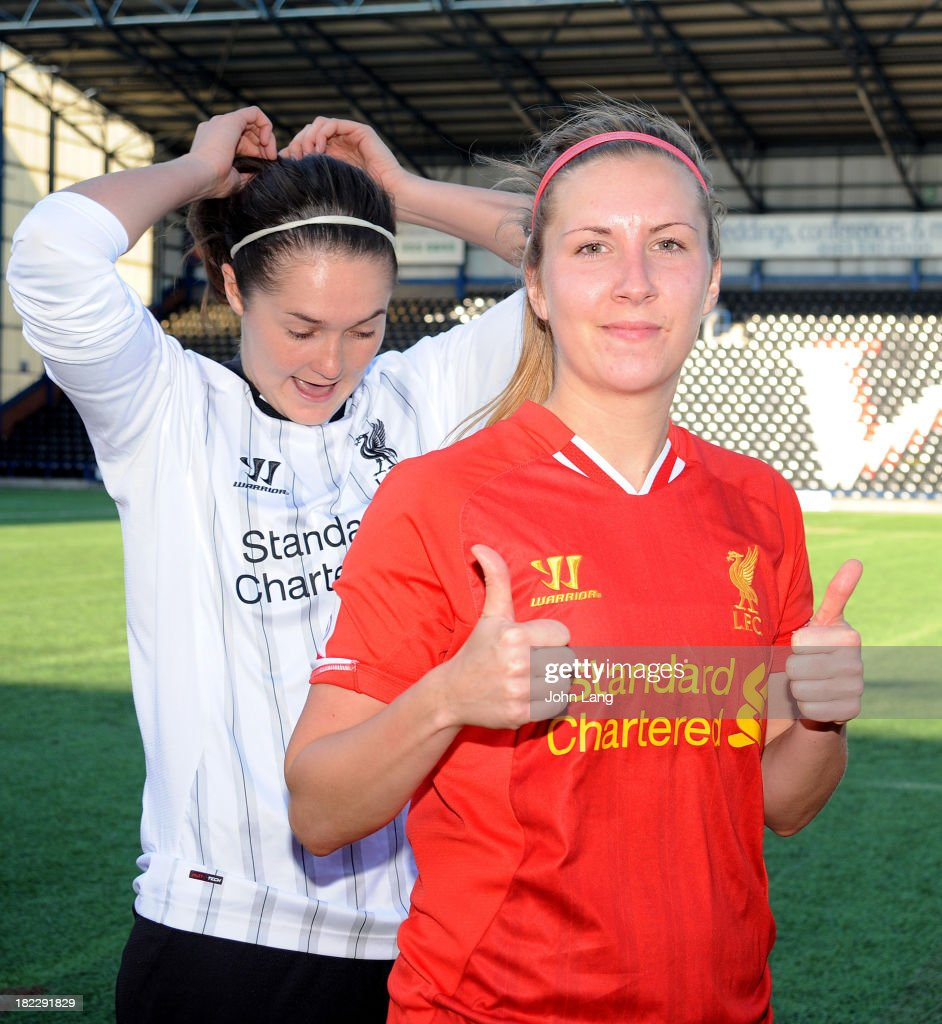 Louise Fors of Liverpool gives a thumbs up after the FA Women's Super League match between Liverpool Ladies and Bristol Academy Women at the Halton Stadium on September 29, 2013 in Widnes, Cheshire, England.
