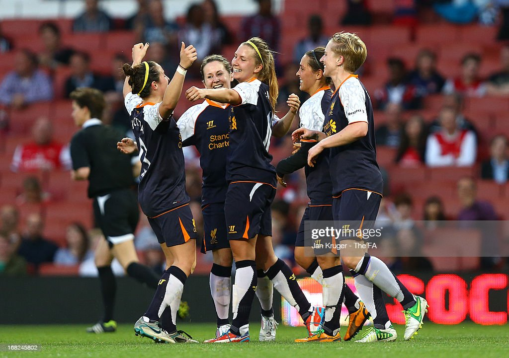 Louise Fors of Liverpool Ladies celebrates her goal with team mates during the FA WSL Continental Cup match between Arsenal Ladies FC and Liverpool Ladies FC at Emirates Stadium on May 7, 2013 in London, England.