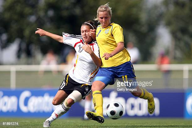 Louise Fors of Sweden and Francesca Weber of Germany during the Women's U19 European Championship match between Sweden and Germany at the Guy Drut...