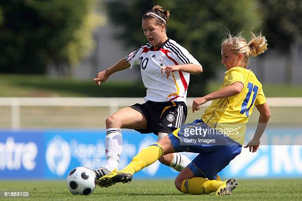 Louise Fors of Sweden and Francesca Weber of Germany fight for the ball during the Women's U19 European Championship match between Sweden and Germany...
