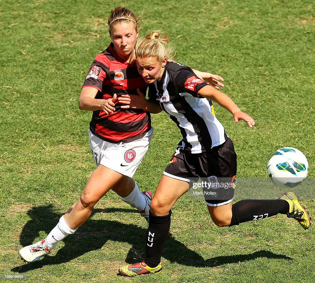 Louise Fors of the Wanderers and Sammara Schmitzer of the Jets contest possession during the round six W-League match between the Western Sydney Wanderers and the Newcastle Jets at Campbelltown Sports Stadium on November 25, 2012 in Sydney, Australia.