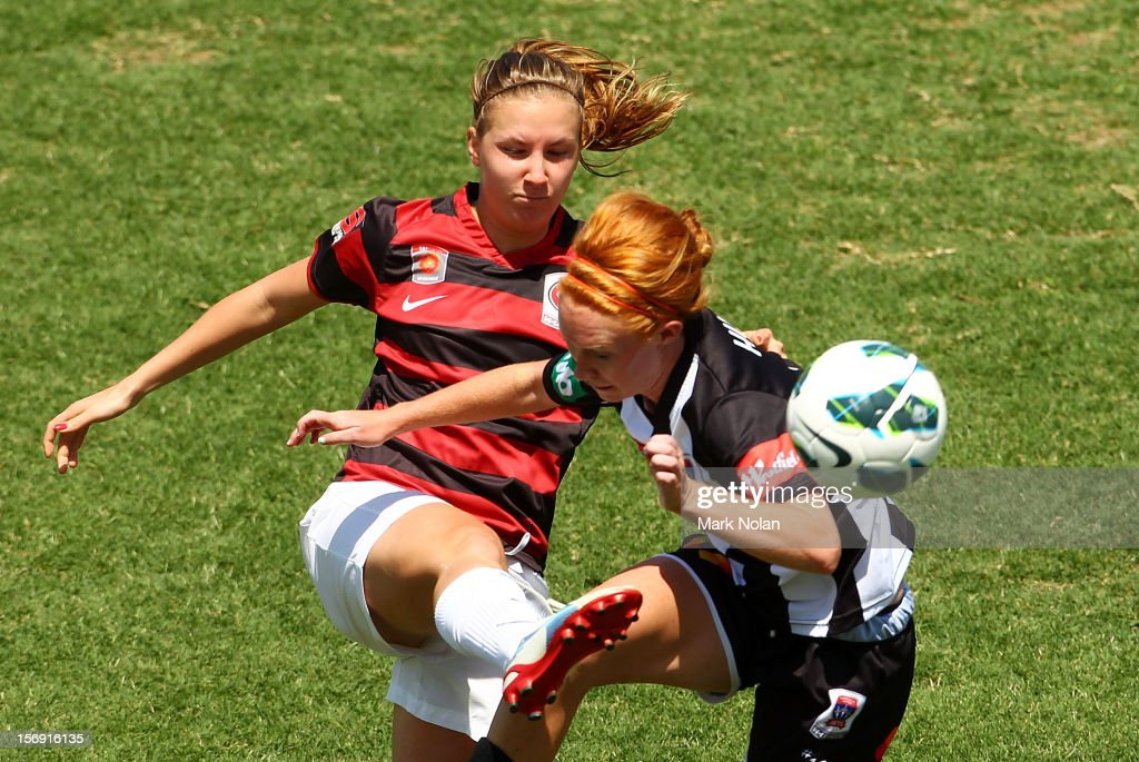 Louise Fors of the Wanderers and Tori Huster of the Jets contest possession during the round six W-League match between the Western Sydney Wanderers and the Newcastle Jets at Campbelltown Sports Stadium on November 25, 2012 in Sydney, Australia.
