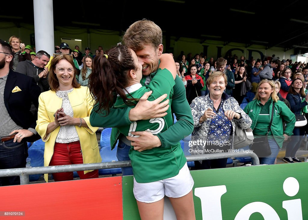 Louise Galvin of Ireland celebrates following the Women's Rugby World Cup 2017 match between Ireland and Japan on August 13, 2017 in Dublin, Ireland.