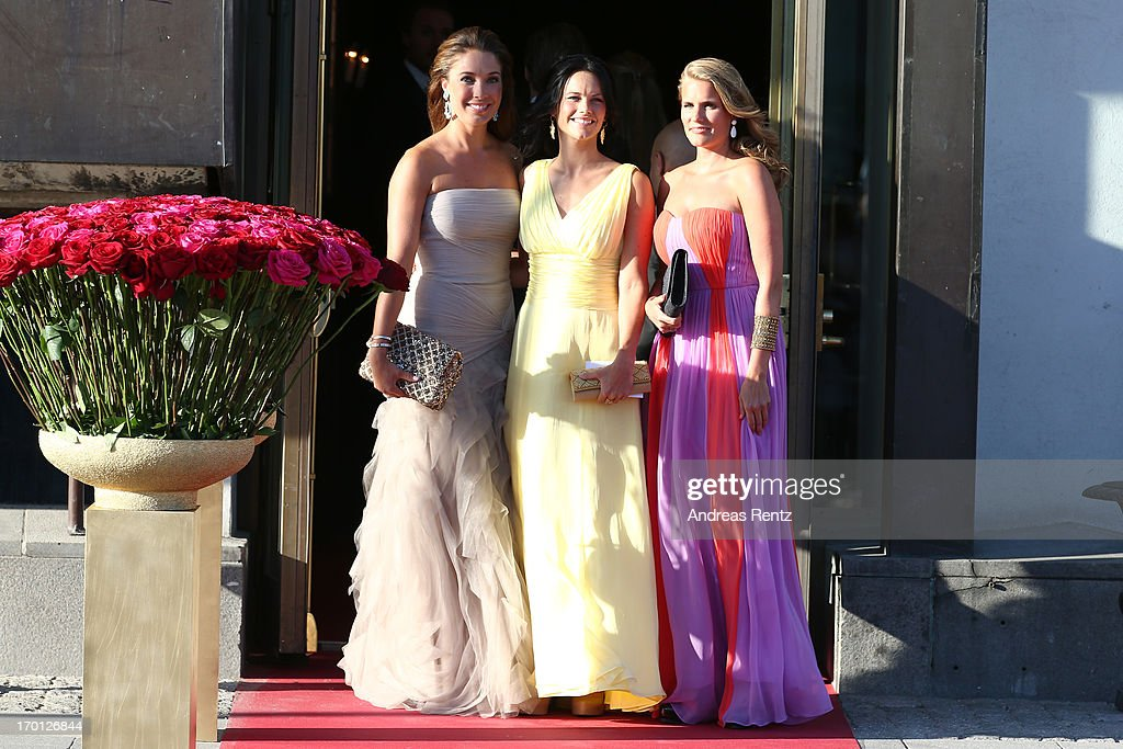 Louise Gottlieb (L) and Sofia Hellqvist (C) arrive at a private dinner on the eve of the wedding of Princess Madeleine and Christopher O'Neill hosted by King Carl XVI Gustaf and Queen Silvia at The Grand Hotel on June 7, 2013 in Stockholm, Sweden.
