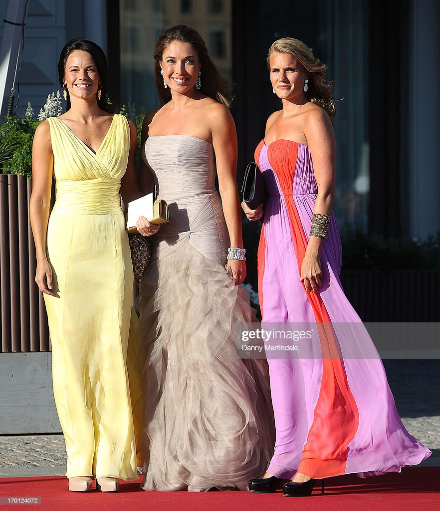 Louise Gottlieb (C), Sofia Hellqvist (L) and friend attends a private dinner on the eve of the wedding of Princess Madeleine and Christopher O'Neill hosted by King Carl Gustaf and Queen Silvia at The Grand Hotel on June 7, 2013 in Stockholm, Sweden.