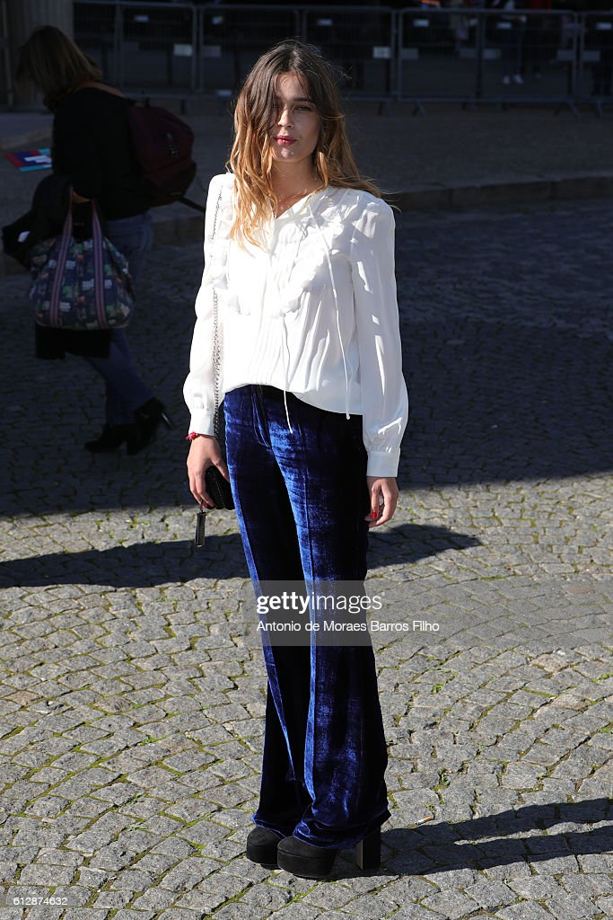 Louise Grinberg attends the Miu Miu show as part of the Paris Fashion Week Womenswear Spring/Summer 2017 on October 5, 2016 in Paris, France.