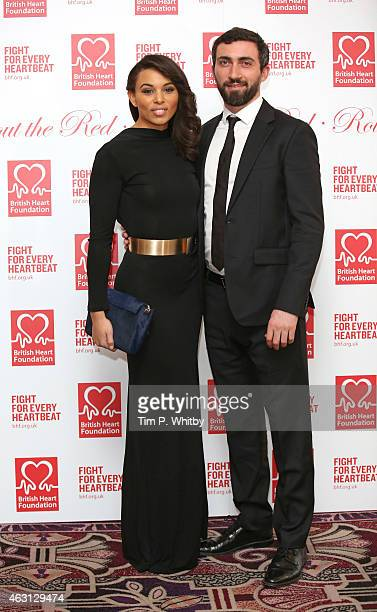 Louise Hazel and guest attend the British Heart Foundations Roll Out The Red Ball at Park Lane Hotel on February 10 2015 in London England