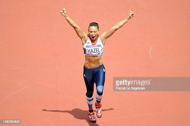 Louise Hazel celebrates on Day 8 of the London 2012 Olympic Games at Olympic Stadium on August 4 2012 in London England