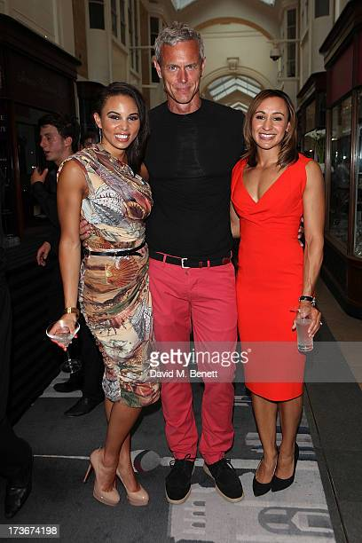Louise Hazel Mark Forster and Jessica EnnisHill attends the OMEGA Summer Cocktail Party at OMEGA Vintage in Burlington Arcade on July 16 2013 in...