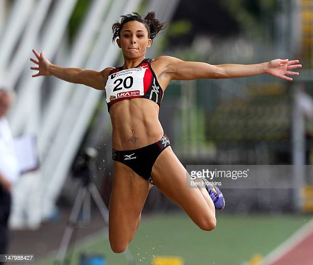 Louise Hazel of Birchfield Harriers competes in the women's long jump during the Loughborough European Athletics Permit meet at The Paula Radcliffe...