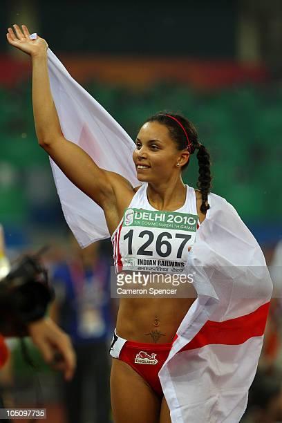 Louise Hazel of England celebrates winning gold in the women's heptathlon at the Jawaharlal Nehru Stadium during day six of the Delhi 2010...