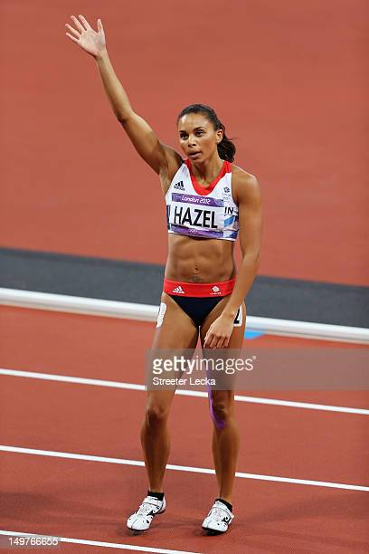 Louise Hazel of Great Britain competes in the Women's Heptathlon 200m on Day 7 of the London 2012 Olympic Games at Olympic Stadium on August 3 2012...