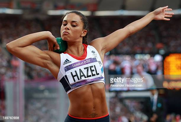 Louise Hazel of Great Britain competes in the Women's Heptathlon Shot Put on Day 7 of the London 2012 Olympic Games at Olympic Stadium on August 3...