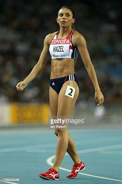 Louise Hazel of Great Britain looks on after competing in the 800 metres in the women's heptathlon during day four of the 13th IAAF World Athletics...
