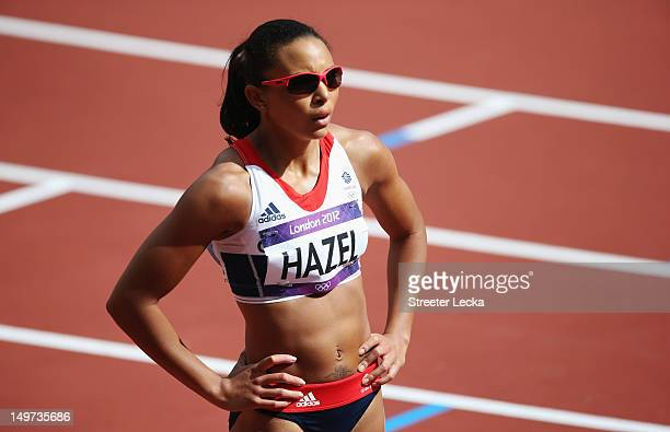 Louise Hazel of Great Britain looks on after competing in the Women's Heptathlon 100m Hurdles Heat 1 on Day 7 of the London 2012 Olympic Games at...
