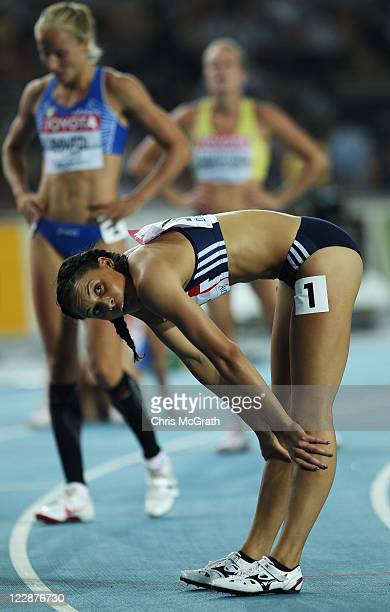 Louise Hazel of Great Britain looks on after she competes in the 200 metres in the women's heptathlon during day three of the 13th IAAF World...