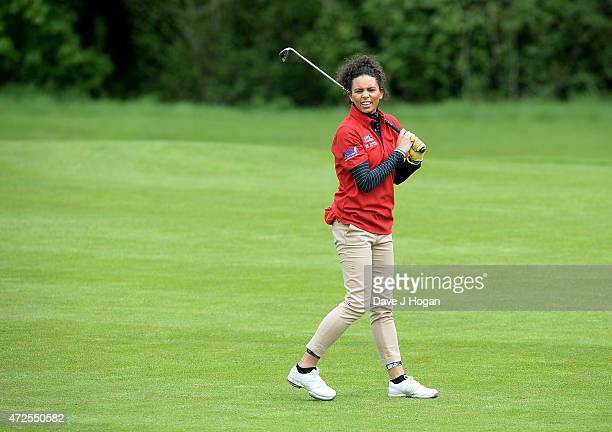 Louise Hazel takes part in the ISPS Handa Mike Tindall 3rd Annual Celebrity Golf Classic at The Grove Hotel on May 8 2015 in Hertford England