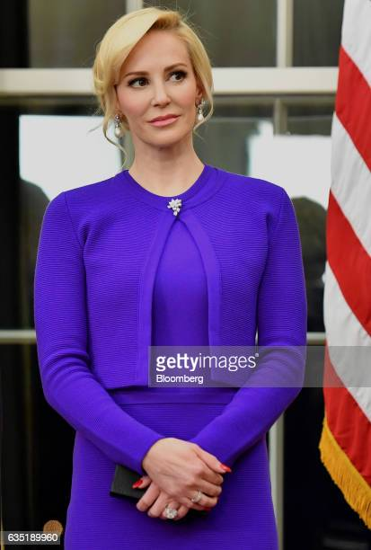 Louise Linton attends a swearingin ceremony for fiance Steven Mnuchin US Treasury secretary not pictured inside the Oval Office of the White House in...