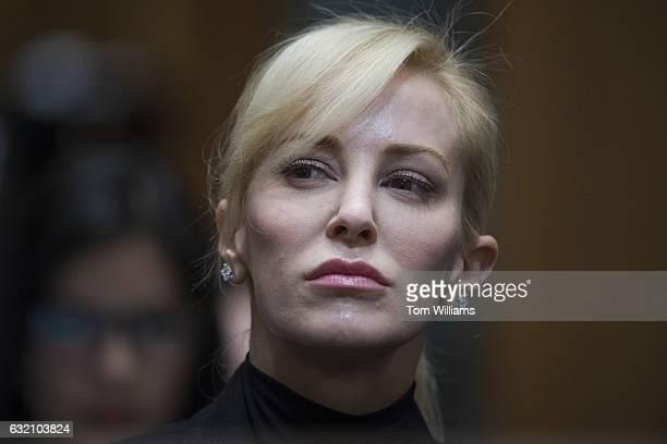 Louise Linton fiancee of Steven Mnuchin Presidentelect Trump's nominee for Treasury secretary attends his Senate Finance Committee confirmation...