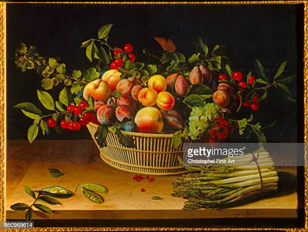 Louise Moillon Still Life with a Basket of Fruit and a Bunch of Asparagus 1630 Oil on panel 053 x 071 m Chicago Art Institute