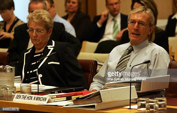 Louise Morauta from PMC left Senator Nick Minchin during the Senate Estimates Finance and Public Administration hearing Parliament House Canberra 13...