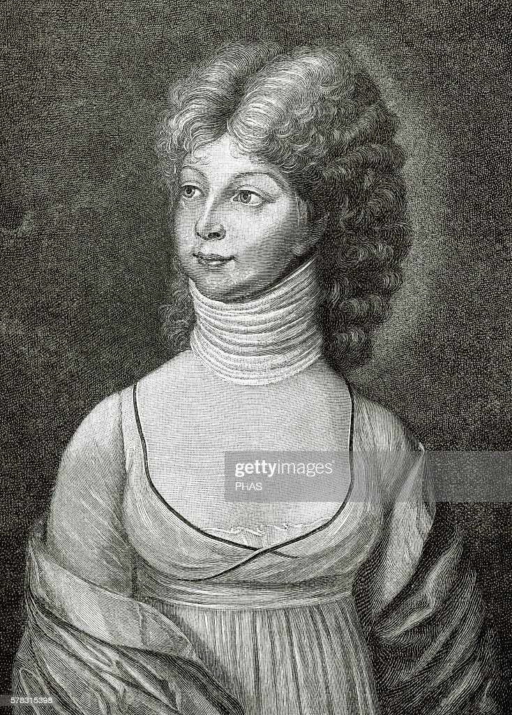 Louise of MecklenburgStrelitz Queen consort of Prussia Wife of King Frederick William III Portrait Engraving Historia Universal 1881