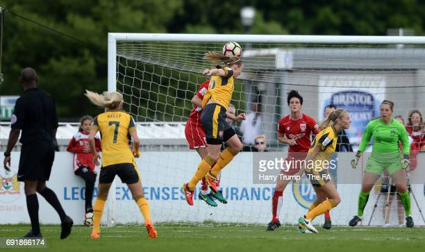 Louise Quinn of Arsenal Ladies scores her side's first goal during the WSL 1 match between Bristol City Women and Arsenal Ladies at the Stoke Gifford...