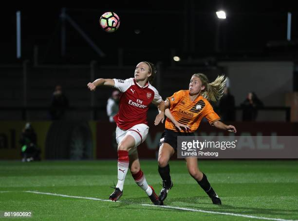 Louise Quinn of Arsenal scores her side's seventh goal past Ashleigh Goddard of London Bees during the FA WSL Continental Cup match between Arsenal...