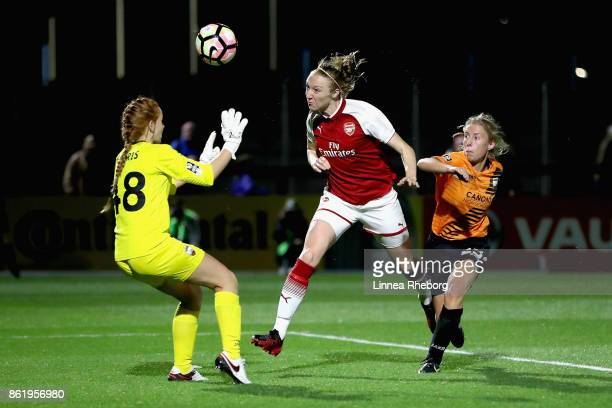 Louise Quinn of Arsenal scores her side's seventh goal past Sophie Harris of London Bees during the FA WSL Continental Cup match between Arsenal and...