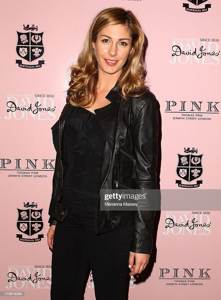 Louise Ransome from Fox Sports News arrives at the David Jones Thomas Pink Event on July 4, 2013 in Sydney, Australia.