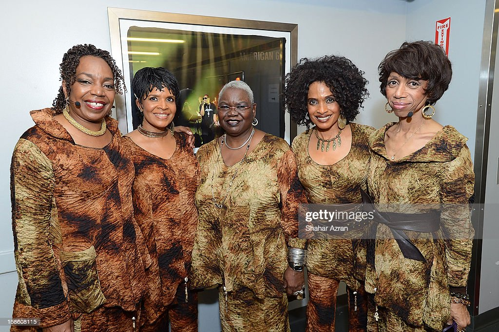 Louise Robinson, Nitanju Casel, Ysaye Barnwell, Aisha Kahlil and Carol Maillard backstage before Sweet Honey In The Rock: Celebrating The Holydays at The Apollo Theater on December 20, 2012 in New York City.