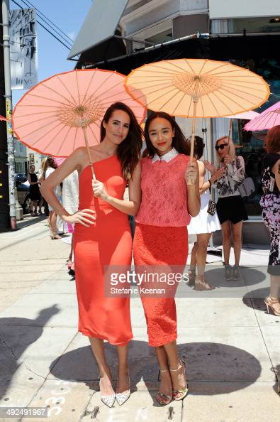 Louise Roe and Ashley Madekwe attend Monique Lhuillier Pre Fall Lunch on May 20 2014 in Los Angeles California