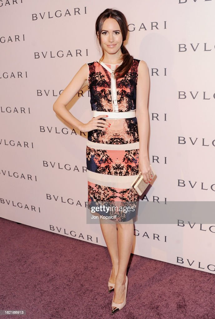 Louise Roe arrives at the Elizabeth Taylor Bulgari Event At The New Bulgari Beverly Hills Boutique on February 19, 2013 in Beverly Hills, California.