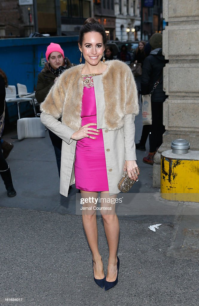 Louise Roe arrives backstage at the Marchesa Fall 2013 fashion show during Mercedes-Benz Fashion Week at The New York Public Library on February 13, 2013 in New York City.