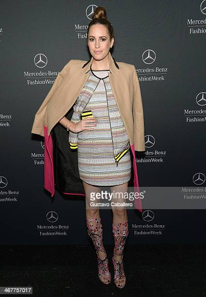 Louise Roe is seen around Lincoln Center Day 2 MercedesBenz Fashion Week Fall 2014 at Lincoln Center for the Performing Arts on February 7 2014 in...