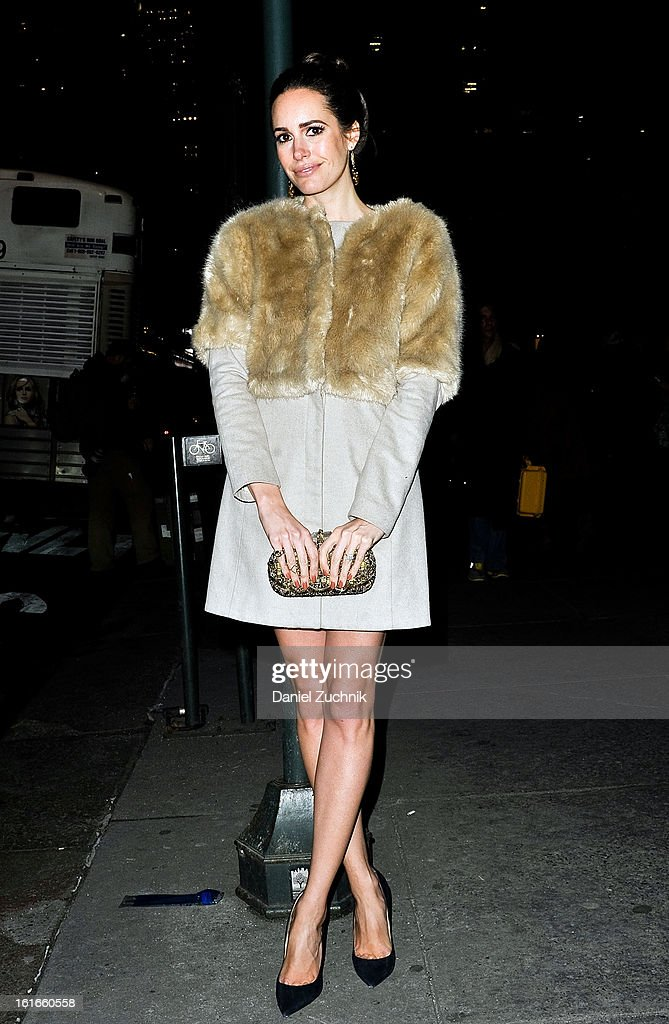 Louise Roe seen outside the Marchesa show wearing a Tibi coat on February 13, 2013 in New York City.